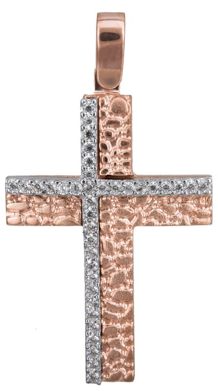 Σταυροί Βάπτισης - Αρραβώνα Ροζ gold σταυρός με πέτρες 14Κ 022841 022841 Γυναικε σταυροί βάπτισης   γάμου σταυροί βάπτισης   αρραβώνα