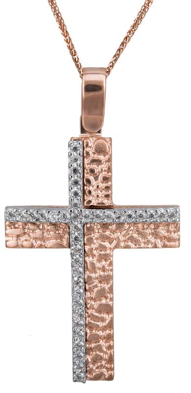 Βαπτιστικοί Σταυροί με Αλυσίδα Γυναικείος σταυρός με αλυσίδα 14Κ C022841 022841C Γυναικείο Χρυσός 14 Καράτια