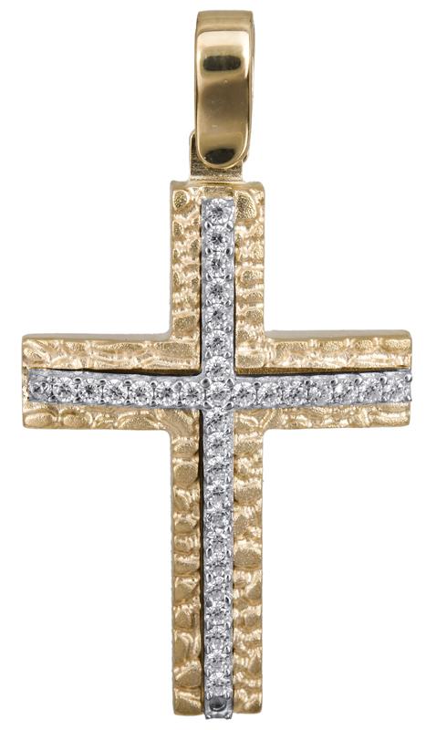 Σταυροί Βάπτισης - Αρραβώνα Δίχρωμος σταυρός με πέτρες 14Κ 022842 022842 Γυναικείο Χρυσός 14 Καράτια