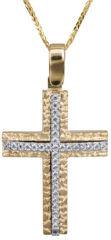 Βαπτιστικοί Σταυροί με Αλυσίδα Γυναικείος ανάγλυφος σταυρός 14Κ C022842 022842C Γυναικείο Χρυσός 14 Καράτια