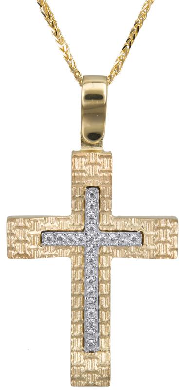 Βαπτιστικοί Σταυροί με Αλυσίδα Γυναικείος σταυρός με πέτρες 14Κ C022843 022843C Γυναικείο Χρυσός 14 Καράτια