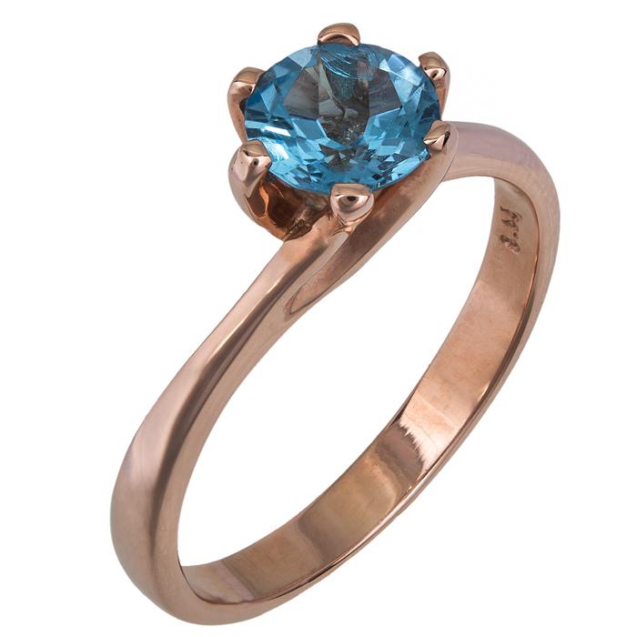 Μονόπετρο δαχτυλίδι ροζ χρυσό Κ14 με blue topaz 022846 022846 Χρυσός 14 Καράτια