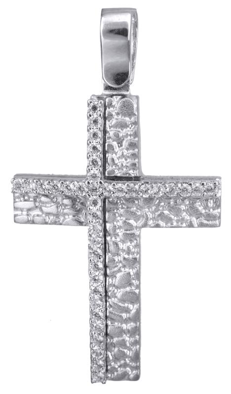Σταυροί Βάπτισης - Αρραβώνα Λευκόχρυσος γυναικείος σταυρός 14Κ 022849 022849 Γυναικείο Χρυσός 14 Καράτια