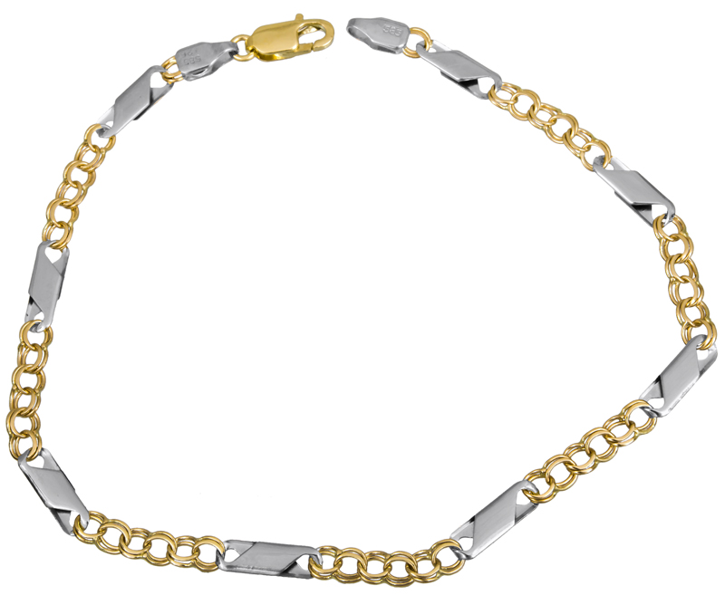 Δίχρωμη καδένα για το χέρι Κ14 022851 022851 Χρυσός 14 Καράτια