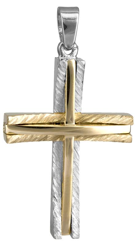Σταυροί Βάπτισης - Αρραβώνα Ανδρικός δίχρωμος σταυρός Κ14 022861 022861 Ανδρικό Χρυσός 14 Καράτια