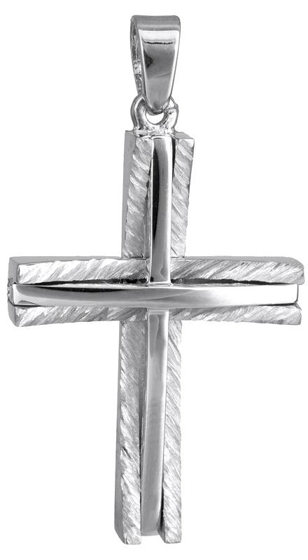 Σταυροί Βάπτισης - Αρραβώνα Λευκόχρυσος αντρικός σταυρός Κ14 022862 022862 Ανδρικό Χρυσός 14 Καράτια