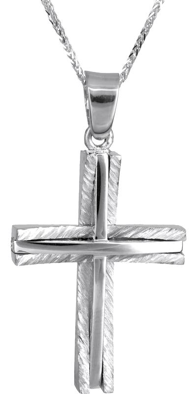 Βαπτιστικοί Σταυροί με Αλυσίδα Λευκόχρυσος σταυρός με καδένα Κ14 C022862 022862C Ανδρικό Χρυσός 14 Καράτια