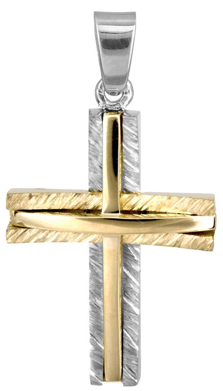 Σταυροί Βάπτισης - Αρραβώνα Δίχρωμος σταυρός για αγόρι Κ14 022863 022863 Ανδρικό Χρυσός 14 Καράτια
