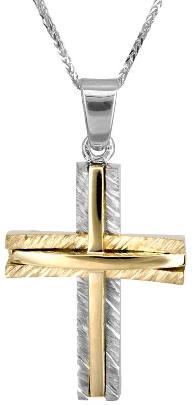 Βαπτιστικοί Σταυροί με Αλυσίδα Αντρικός δίχρωμος σταυρός με καδένα Κ14 C022863 022863C Ανδρικό Χρυσός 14 Καράτια