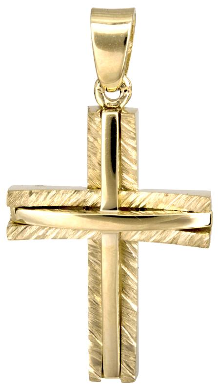 Σταυροί Βάπτισης - Αρραβώνα Χρυσός βαπτιστικός σταυρός Κ14 022864 022864 Ανδρικό Χρυσός 14 Καράτια
