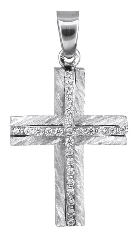 Σταυροί Βάπτισης - Αρραβώνα Λευκόχρυσος σταυρός με ζιργκόν Κ14 022865 022865 Γυν σταυροί βάπτισης   γάμου σταυροί βάπτισης   αρραβώνα