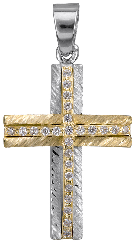 Σταυροί Βάπτισης - Αρραβώνα Δίχρωμος γυναικείος σταυρός με ζιργκόν Κ14 022866 022866 Γυναικείο Χρυσός 14 Καράτια