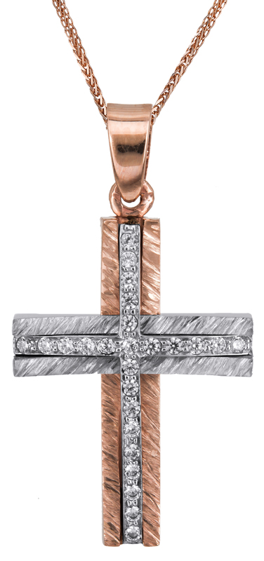 Βαπτιστικοί Σταυροί με Αλυσίδα Γυναικείος σταυρός σε ροζ χρυσό Κ14 C022867 022867C Γυναικείο Χρυσός 14 Καράτια