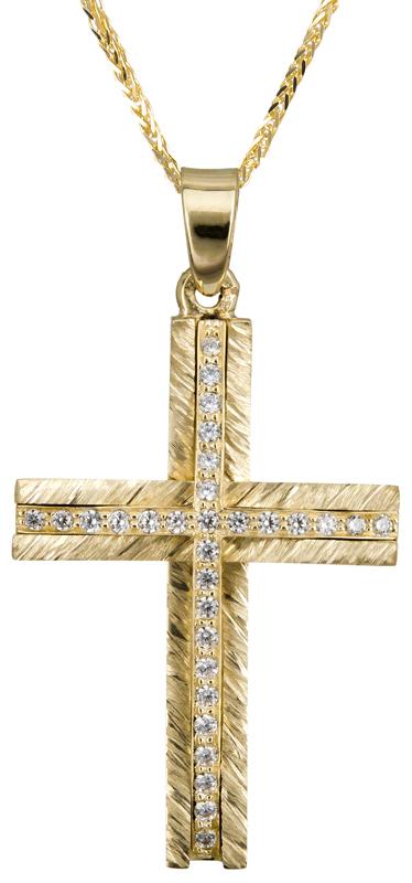 Βαπτιστικοί Σταυροί με Αλυσίδα Χρυσός σταυρός Κ14 με ζιργκόν C022869 022869C Γυναικείο Χρυσός 14 Καράτια