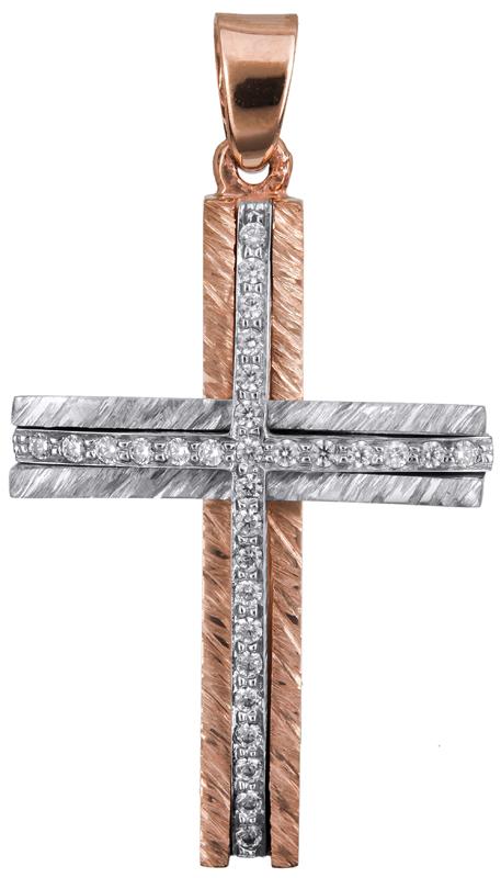 Σταυροί Βάπτισης - Αρραβώνα Δίχρωμος ροζ γυναικείος σταυρός Κ14 022870 022870 Γυ σταυροί βάπτισης   γάμου σταυροί βάπτισης   αρραβώνα