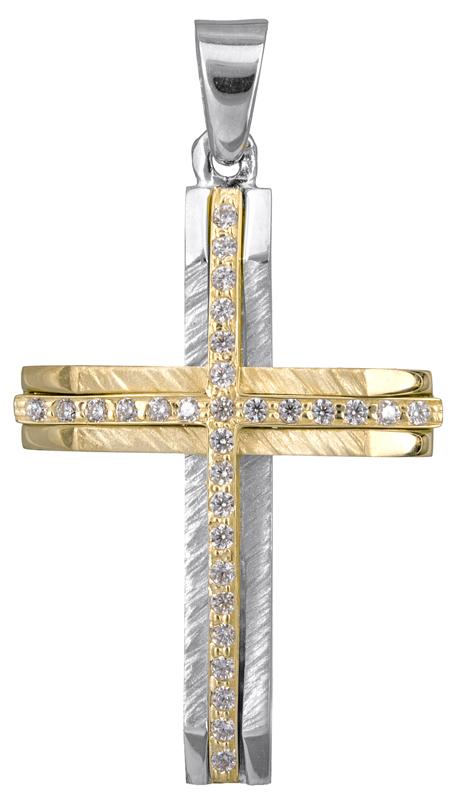 Σταυροί Βάπτισης - Αρραβώνα Δίχρωμος σταυρός για κορίτσι Κ14 022871 022871 Γυναικείο Χρυσός 14 Καράτια