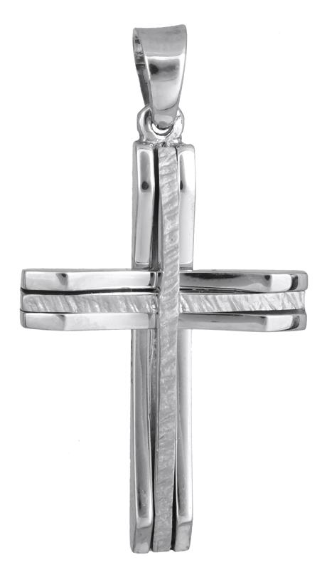 Σταυροί Βάπτισης - Αρραβώνα Βαπτιστικός λευκόχρυσος σταυρός για αγόρι 14Κ 022873 022873 Ανδρικό Χρυσός 14 Καράτια