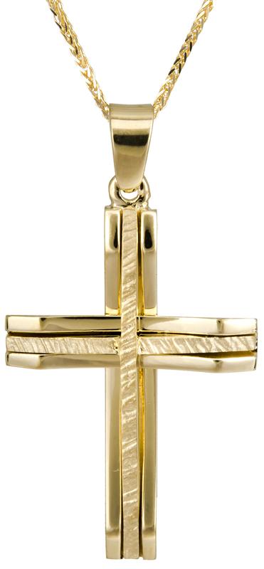 Βαπτιστικοί Σταυροί με Αλυσίδα Χρυσός σταυρός βάπτισης Κ14 C022875 022875C Ανδρικό Χρυσός 14 Καράτια