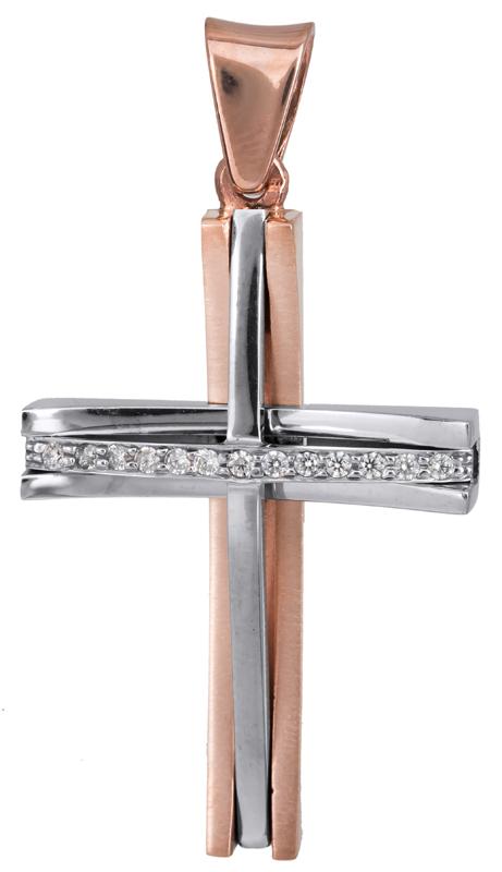 Σταυροί Βάπτισης - Αρραβώνα Ροζ gold γυναικείος σταυρός Κ14 022876 022876 Γυναικείο Χρυσός 14 Καράτια
