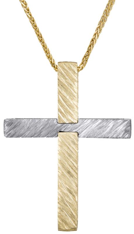 Βαπτιστικοί Σταυροί με Αλυσίδα Δίχρωμος σταυρός βάπτισης Κ14 C022877 022877C Ανδρικό Χρυσός 14 Καράτια