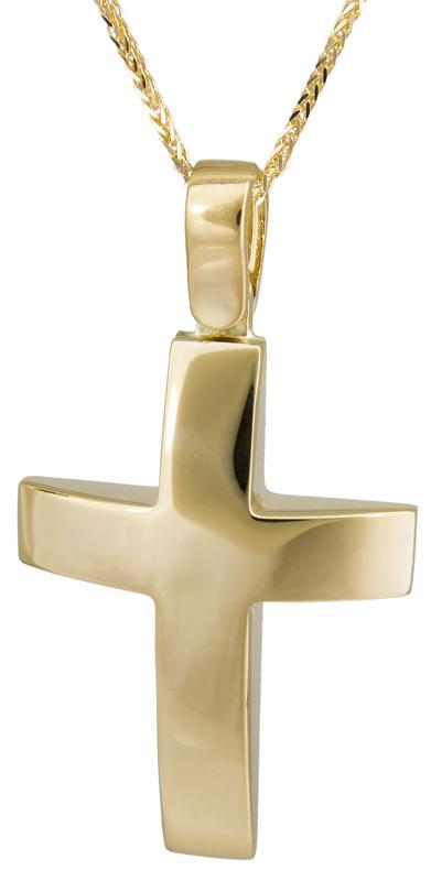 Βαπτιστικοί Σταυροί με Αλυσίδα Χρυσός σταυρός βάπτισης Κ14 C022904 022904C Ανδρικό Χρυσός 14 Καράτια