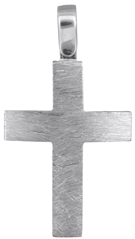 Σταυροί Βάπτισης - Αρραβώνα Λευκόχρυσος ματ σταυρός 14Κ 022906 022906 Ανδρικό Χρυσός 14 Καράτια