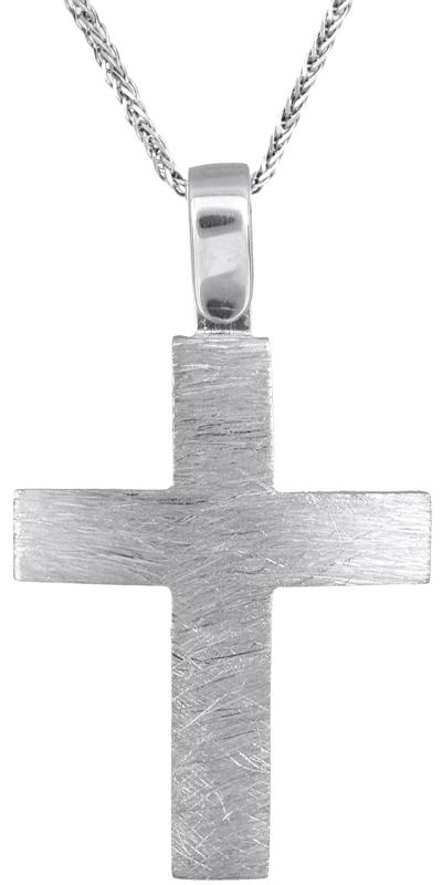 Βαπτιστικοί Σταυροί με Αλυσίδα Λευκόχρυσος ματ σταυρός με αλυσίδα 14Κ C022906 022906C Ανδρικό Χρυσός 14 Καράτια
