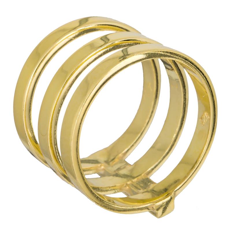 Επίχρυσο τριπλό δαχτυλίδι 925 022908 022908 Ασήμι