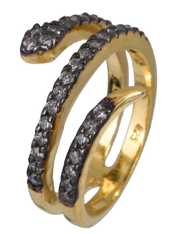Επίχρυσο δαχτυλίδι φιδάκι με ζιργκόν 925 022912 022912 Ασήμι