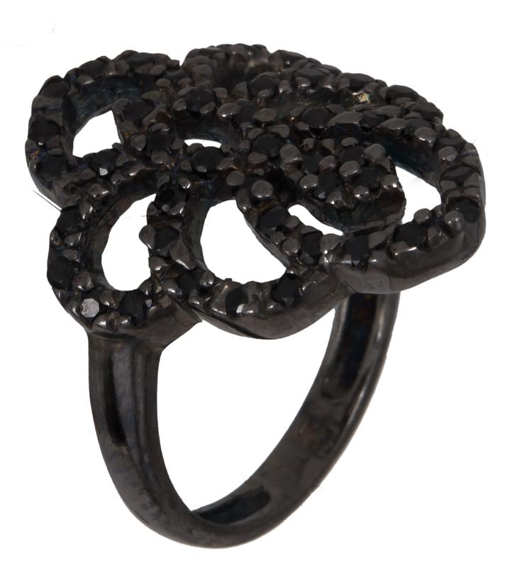 Μαύρο ασημένιο δαχτυλίδι με πέτρες 925 022922 022922 Ασήμι