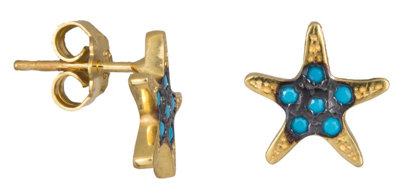 Σκουλαρίκια αστερίας με τυρκουάζ πέτρες 022926 022926 Ασήμι