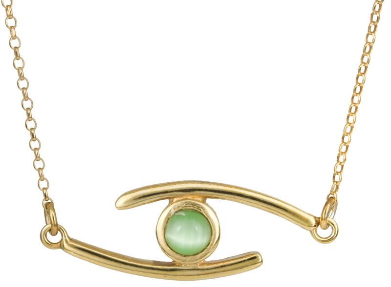 Επίχρυσο μάτι με πράσινη πέτρα 925 022944 022944 Ασήμι