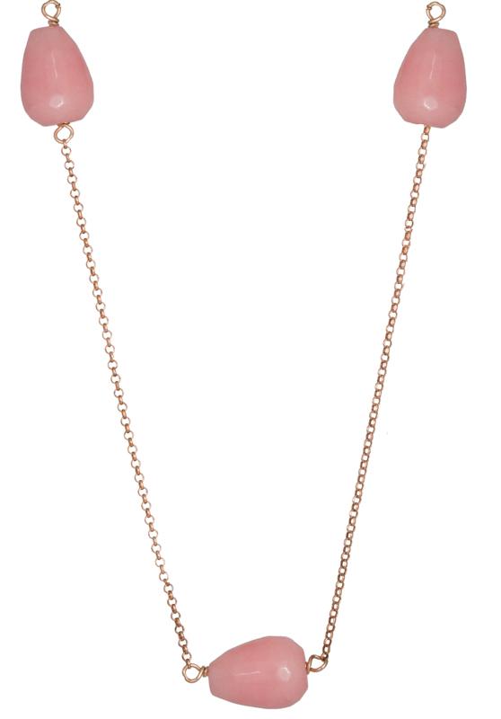 Γυναικείο κολιέ με ροζ πέτρες 925 022950 022950 Ασήμι