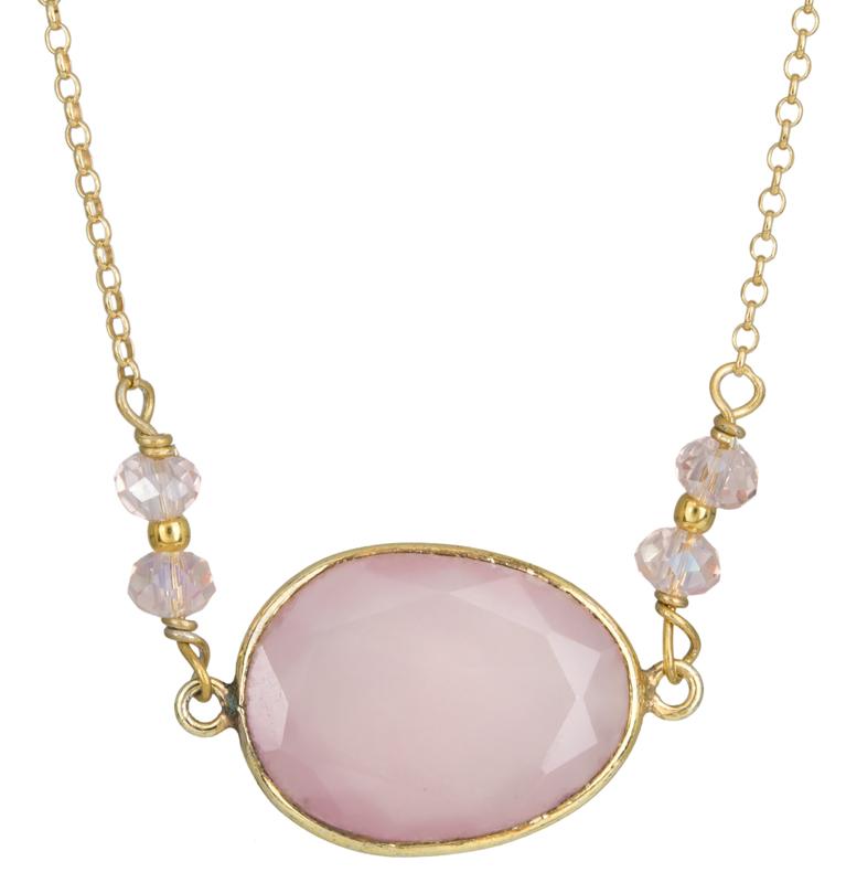 Επίχρυσο κολιέ με ροζ πέτρες 925 022954 022954 Ασήμι