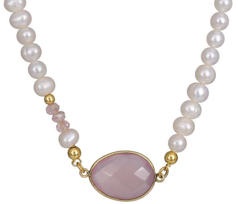 Μαργαριταρένιο κολιέ με ροζ πέτρα 925 022958 022958 Ασήμι
