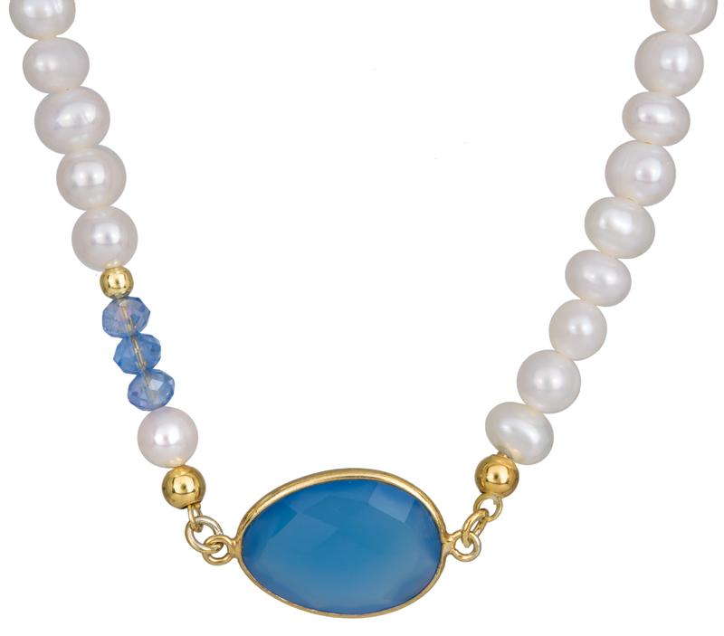 Μαργαριταρένιο κολιέ με μπλε πέτρα 925 022959 022959 Ασήμι