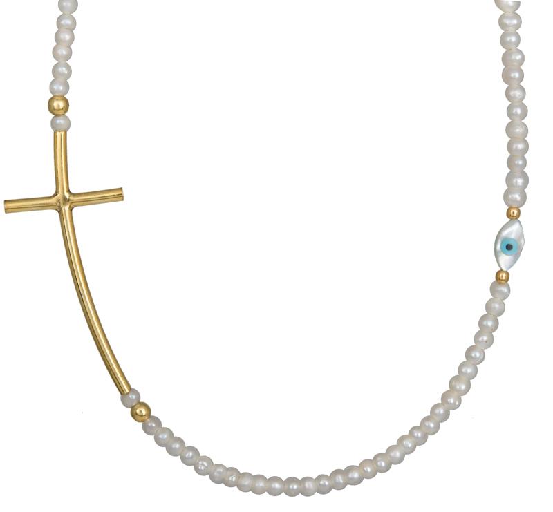 Κολιέ με μαργαριτάρια και σταυρό 925 022962 022962 Ασήμι