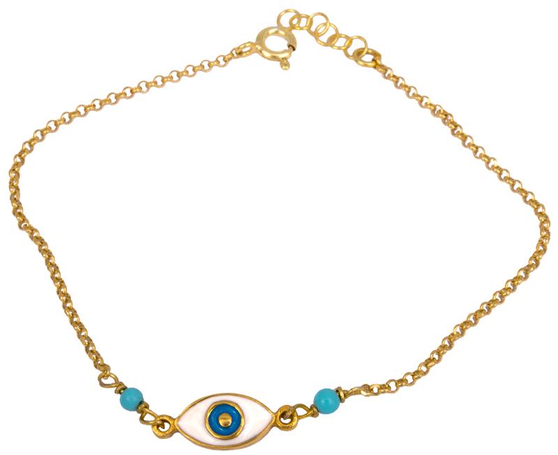 Βραχιόλι επίχρυσο με ματάκι 925 022982 022982 Ασήμι ασημένια κοσμήματα βραχιόλια
