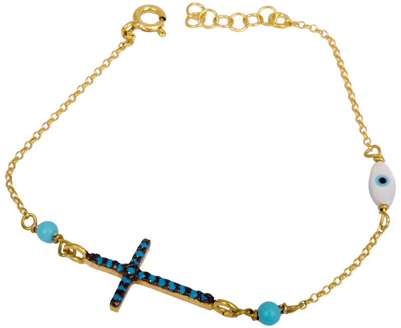 Γυναικείο βραχιόλι με σταυρουδάκι 925 022986 022986 Ασήμι ασημένια κοσμήματα βραχιόλια
