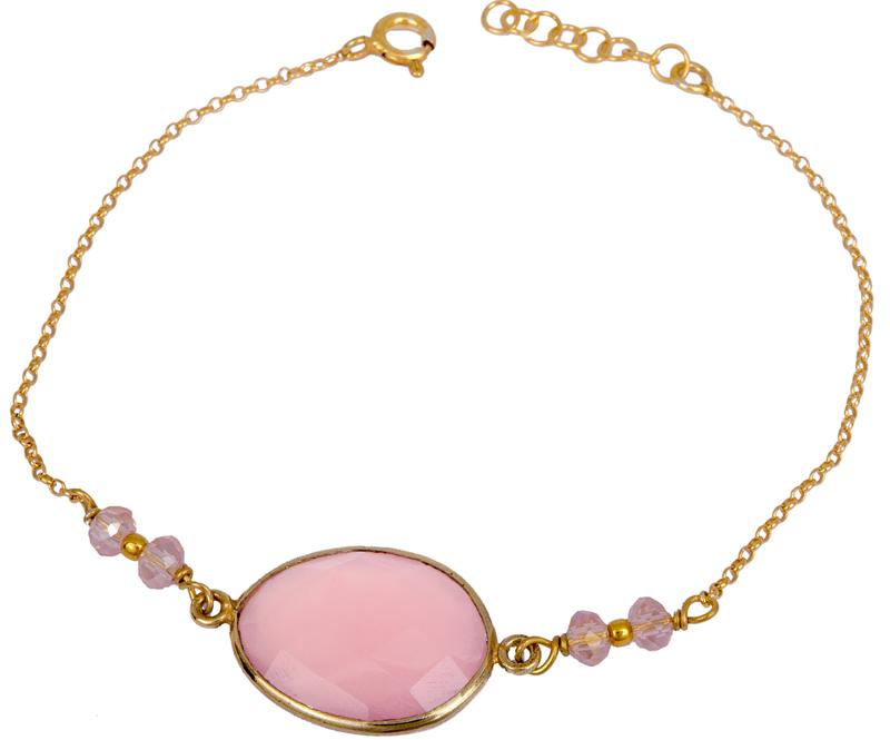 Γυναικείο βραχιόλι με ροζ πέτρα 925 022989 022989 Ασήμι