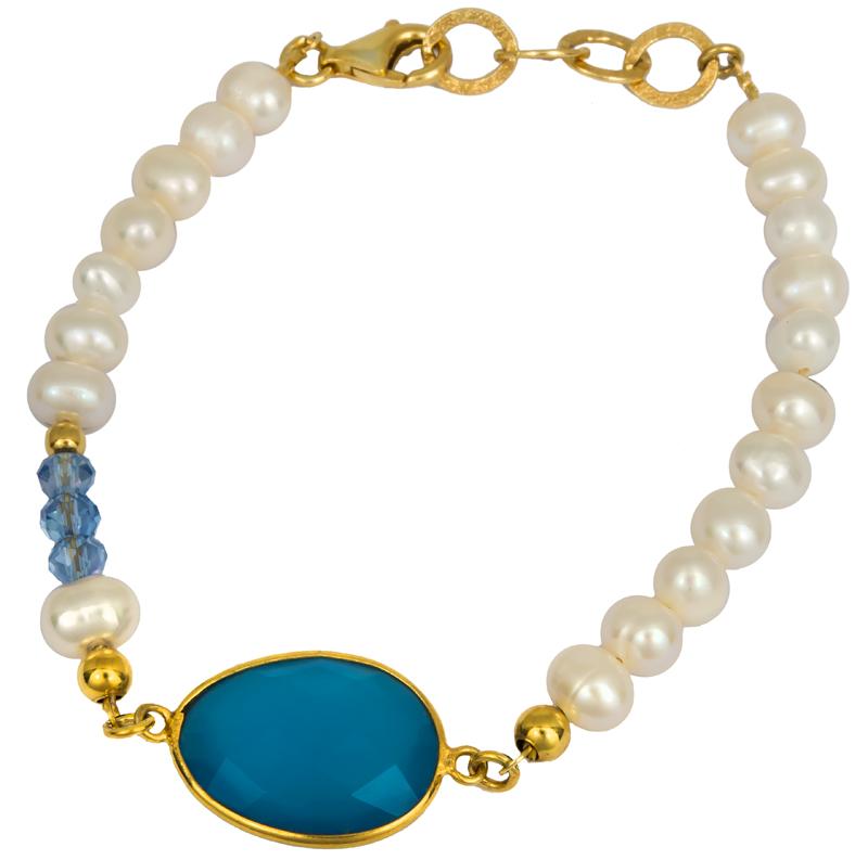 Μαργαριταρένιο βραχιόλι με μπλε πέτρα 925 022992 022992 Ασήμι