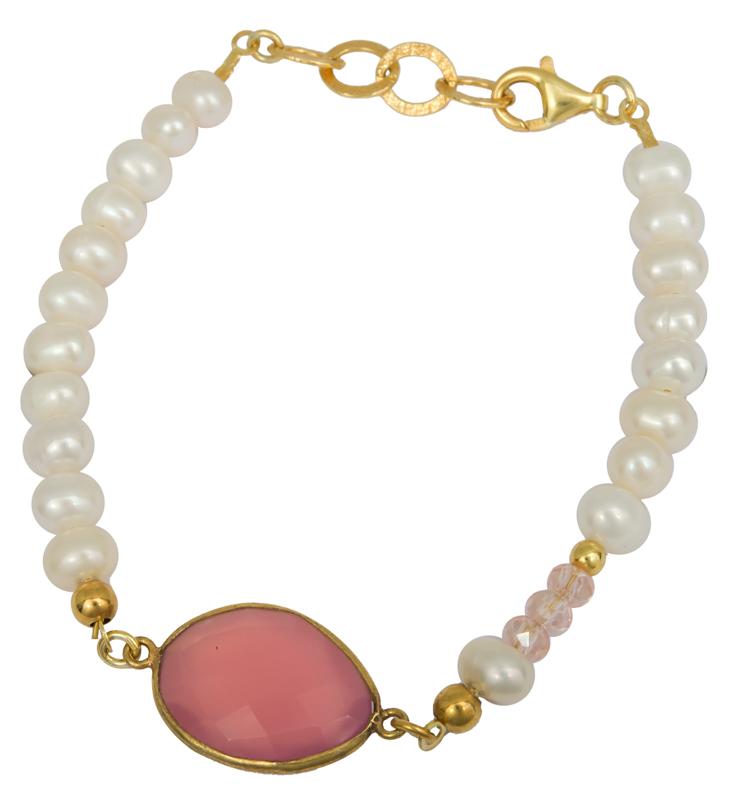 Μαργαριταρένιο βραχιόλι με ροζ πέτρα 925 022993 022993 Ασήμι