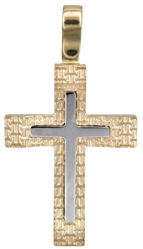 Σταυροί Βάπτισης - Αρραβώνα Δίχρωμος ανδρικός σταυρός Κ14 023024 023024 Ανδρικό Χρυσός 14 Καράτια