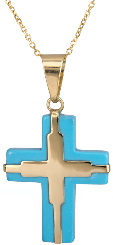Γυναικείο χρυσό σταυρουδάκι με αλυσίδα 14K C023041 023041C Χρυσός 14 Καράτια