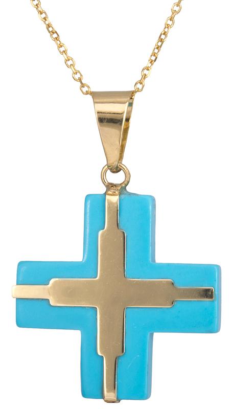 Χρυσός σταυρός με τυρκουάζ πέτρα 14K C023059 023059C Χρυσός 14 Καράτια