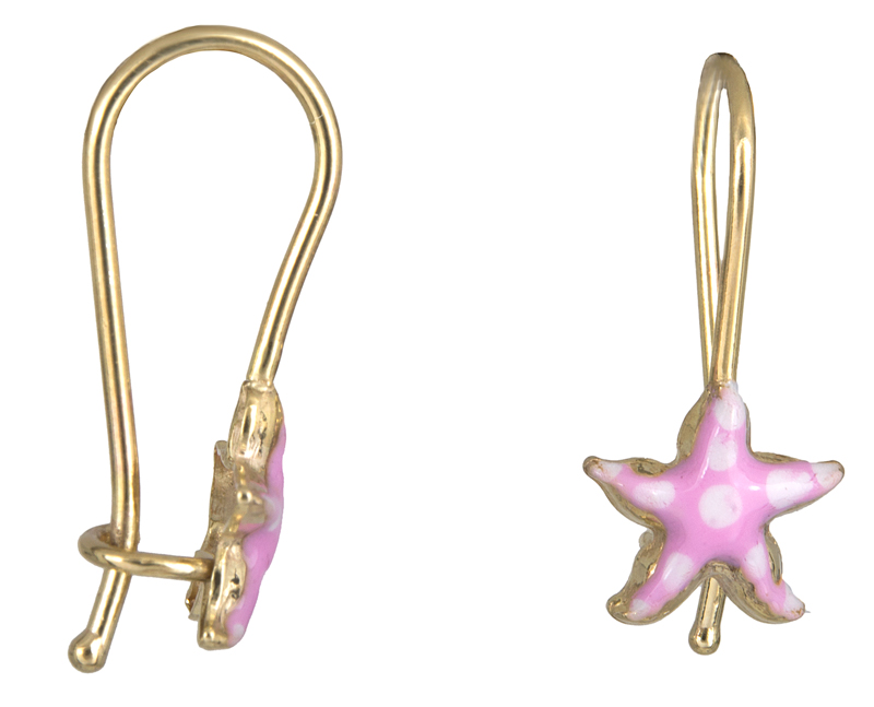 Σκουλαρίκια παιδικά αστερίας Κ9 023065 023065 Χρυσός 9 Καράτια