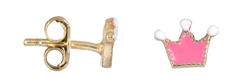 Σκουλαρίκια παιδικά κορώνες Κ9 023074 023074 Χρυσός 9 Καράτια