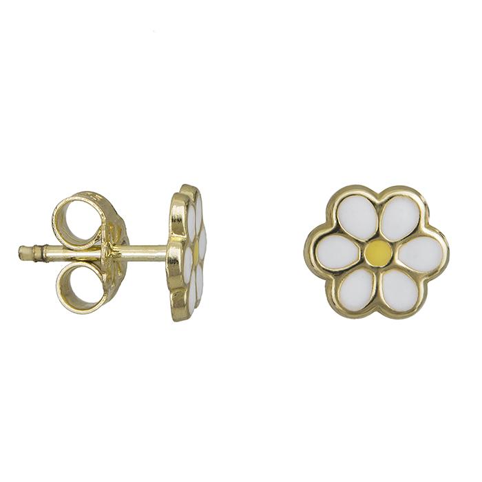 Σκουλαρίκια λουλούδι με σμάλτο Κ9 023080 023080 Χρυσός 9 Καράτια