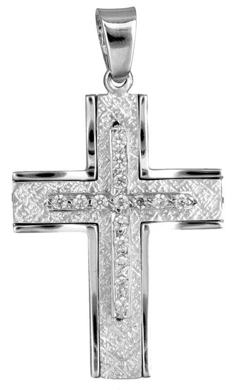 Σταυροί Βάπτισης - Αρραβώνα Λευκόχρυσος σταυρός με ζιργκόν 9Κ 023081 023081 Γυναικείο Χρυσός 9 Καράτια