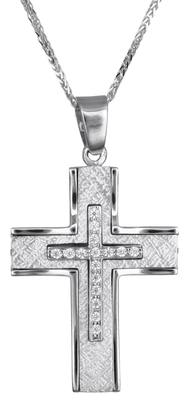 Βαπτιστικοί Σταυροί με Αλυσίδα Γυναικείος λευκόχρυσος σταυρός με ζιργκόν Κ9 C023081 023081C Γυναικείο Χρυσός 9 Καράτια